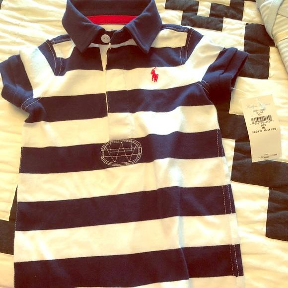 b7f52d27 Ralph Lauren baby boy striped shorts onesie NWT NWT